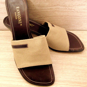 Rangoni Tan Stretch Slides Sandals with Leather